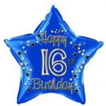 18 Inch Blue Birthday Age 16 Foil Balloon