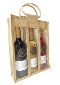 Triple Wine Bottle Hessian Bag