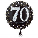 18 Inch Sparkling Celebration Black & Gold 70 Pink Foil Balloon