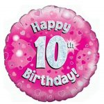 18 Inch Happy 10 Birthday Pink Foil Balloon