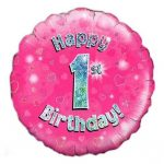 18 Inch Happy 1st Birthday Pink Foil Balloon