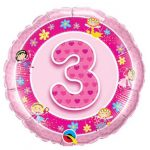 18 inch Age 3 Pink Foil Balloon