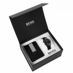 HUGO BOSS BLACK LEATHER WATCH & MONEY CLIP MEN'S GIFT SET