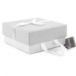 Medium Luxury Gift Box – White & Silver Glitter