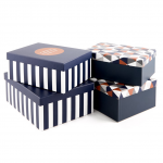 Luxury Gift Box Set Of Four – Blue Geometric