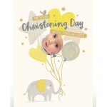 Christening Day Card – Elephant Balloons