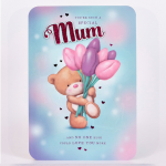 Hugs Birthday Card – Mum Bear With Lilies